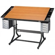 Alvin Deluxe Art, Drawing, and Hobby Table Black Base Cherry Woodgrain Top