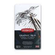 Derwent Graphic Pencil Sketching Set of 12 Soft 9B-H