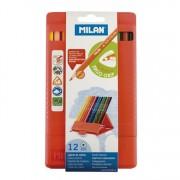 Milan Flexibox Triangular Colored Pencils 12ct
