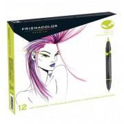 Prismacolor Premier Double-Ended Brush Marker Primary 12 Marker Set