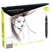 Prismacolor Premier Double-Ended Brush Marker Warm Grey 12 Marker Set