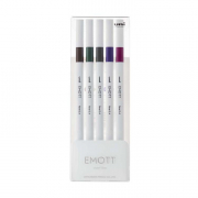 Emott Fineliner 5-Pen Set #3 Dk Brn Kahki Grey Violet Amethy