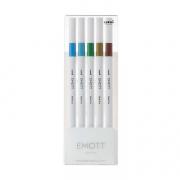 Emott Fineliner 5-Pen Set #4 Sky Blue Turq Pine Dk Yell Brn