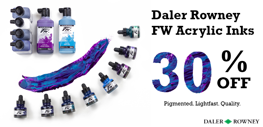 daler rowney fw acrylic inks 30 percent off