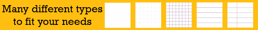 many different page types: ruled, dotted, ruled with margin, gridded