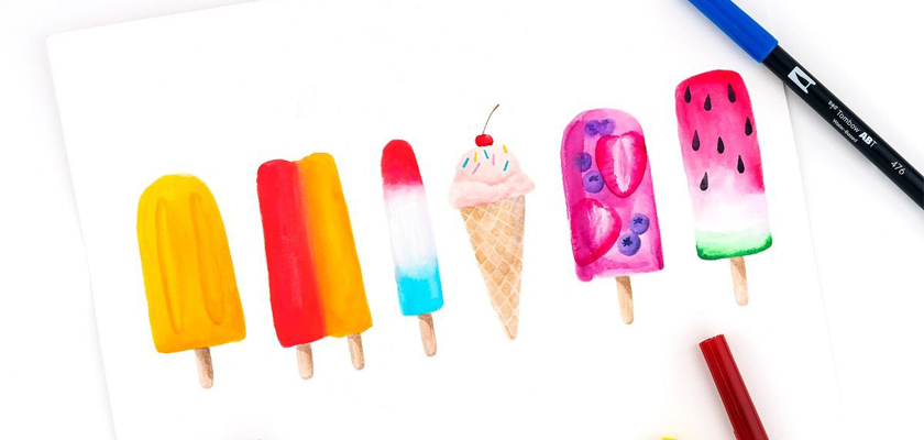 drawing of 6 popsicles in different styles
