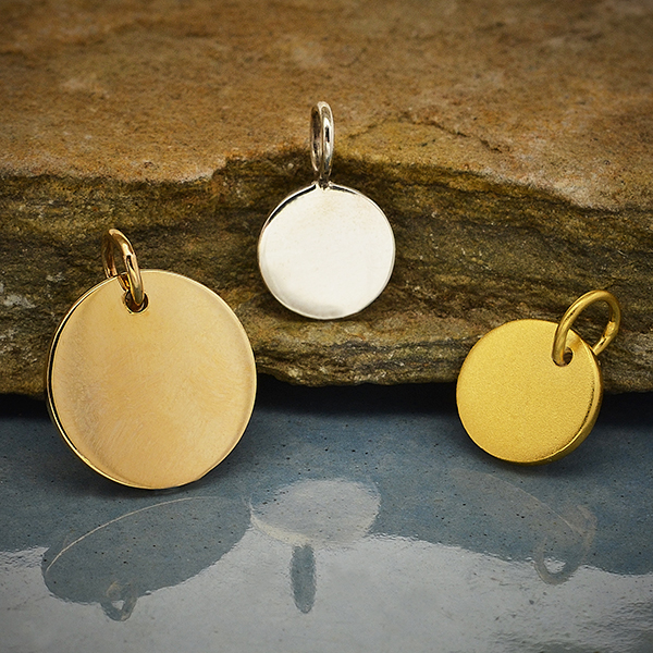 blank pendant for jewellery making 13mm round yellow gold plated pendant