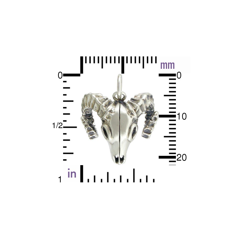 Sterling Silver Bighorn Sheep Skull Charm 23x11mm