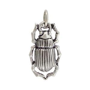 Sterling Silver Beetle Charm - Bug Charm 21x9mm
