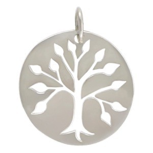 Sterling Silver Cutout Tree Pendant on Round Charm 23x19mm
