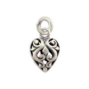 Sterling Silver Heart Charm with Open Scroll Work