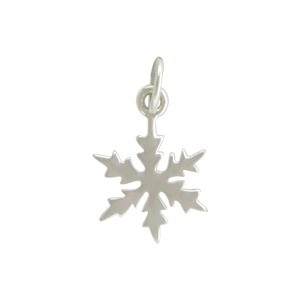 Sterling Silver Snowflake Charm - Christmas Charms 18x10mm