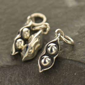 Sterling Silver Two Peas in a Pod Charm  - Food Charm 18x4mm