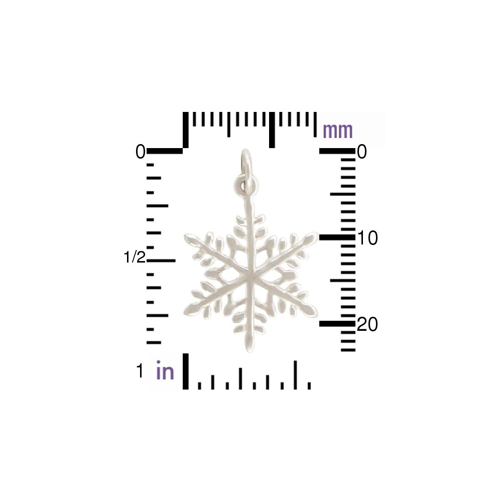 Sterling Silver Large Snowflake Charm - Christmas Charms