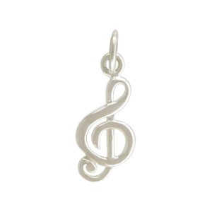Sterling Silver Music Note Charm - Treble Clef 18x7mm