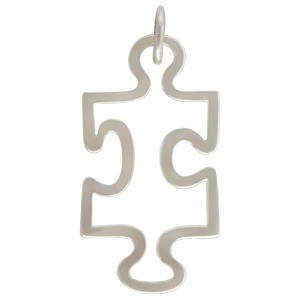 Sterling Silver Puzzle Piece Charm for Autism Awareness