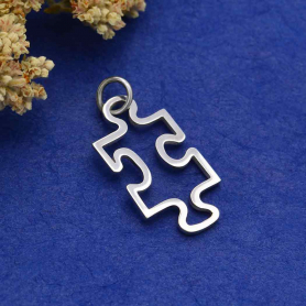 Sterling Silver Puzzle Piece Charm Autism Awareness 25x12mm