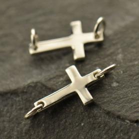 Sterling Silver Cross Charm Link 6x17mm