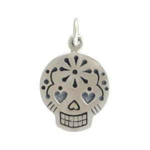 Sterling Silver Sugar Skull Charm - Small 20x12mm