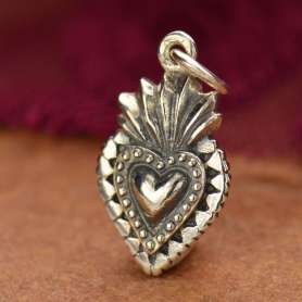 Sterling Silver Sacred Heart Charm 20x10mm