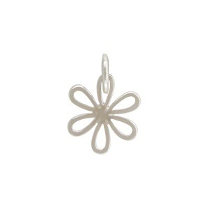 Sterling Silver Daisy Charm - Flower Charm - Small