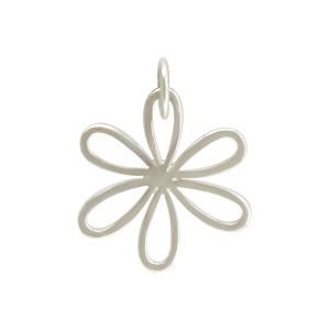 Sterling Silver Daisy Charm - Flower Charm - Medium 19x14mm