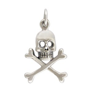 Sterling Silver Skull and Crossbones Charm 21x12mm