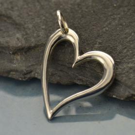 Sterling Silver Openwork Heart Charm 21x14mm