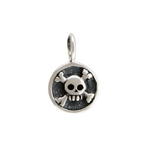 Sterling Silver Round Charm with Skull and Crossbones