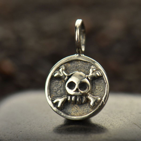 Sterling Silver Round Charm with Skull and Crossbones 13x8mm