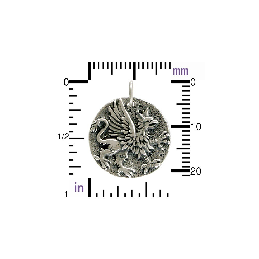 Sterling Silver Ancient Coin Charm - Griffin 22x18mm