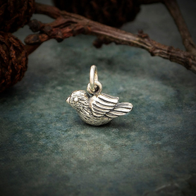 Sterling Silver Bird Charm - Tiny - Textured