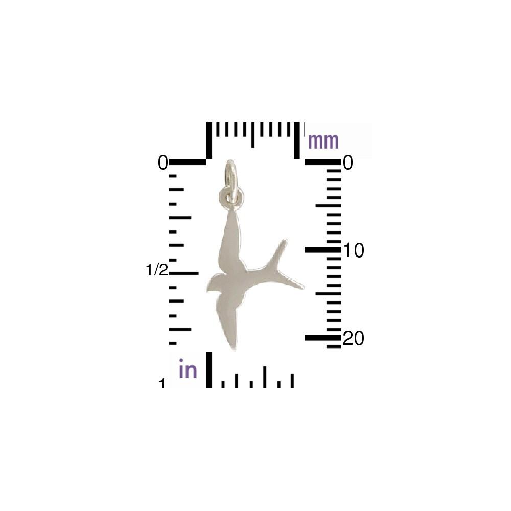Sterling Silver Swallow Bird Charm - Flat