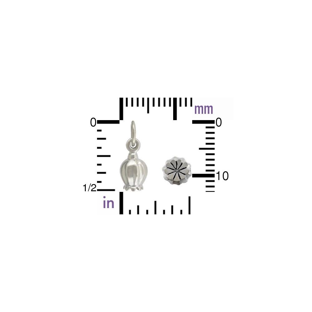 Sterling Silver Poppy Charm - Poppy Pod 13x5mm