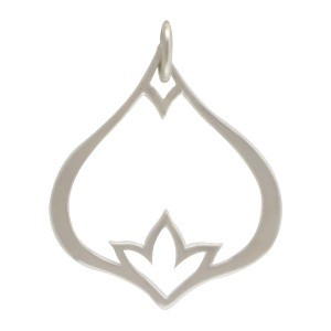 Sterling Silver Teardrop Pendant with Inset Poppy Detail
