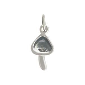 Sterling Silver Mushroom Charm - Food Charm 17x7mm