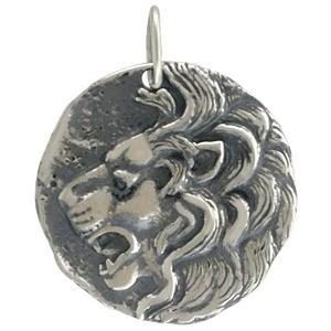 Sterling Silver Ancient Coin Charm - Lion Head 24x20mm