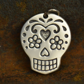 Sterling Silver Sugar Skull Charm - Large