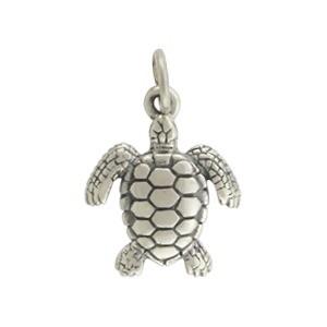 Sterling Silver Sea Turtle Charm - Beach Charm 18x12mm