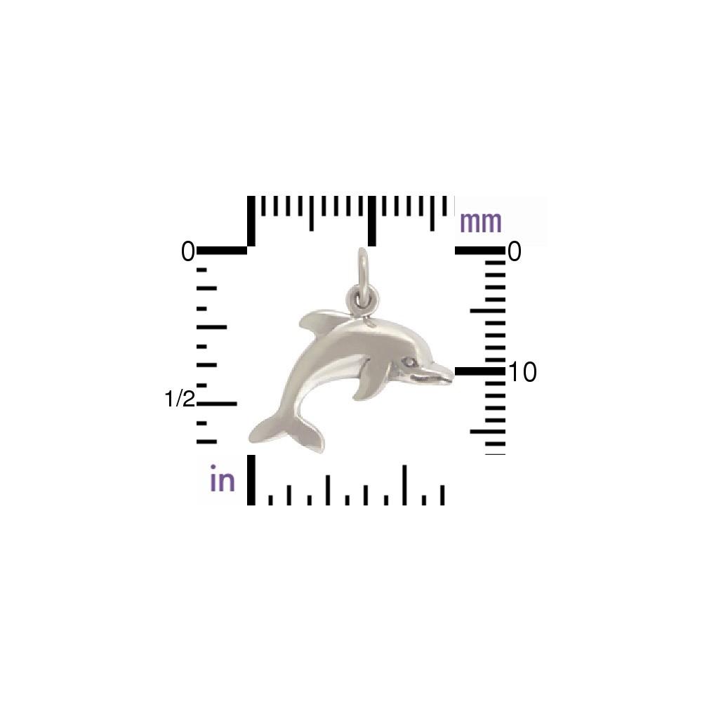 Sterling Silver Dolphin Charm - Beach Charm 18x18mm