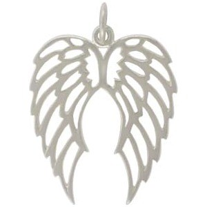 Sterling Silver Double Wing Charm - Openwork 25x18mm