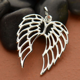 Sterling Silver Double Wing Charm - Openwork