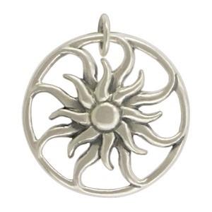 Sterling Silver Sun Pendant - Openwork 23x20mm