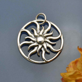 Sterling Silver Sun Pendant - Openwork 23x20mm