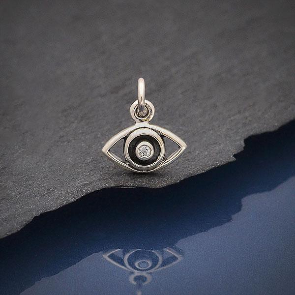 Sterling Silver /& Black Diamond Eye Charm-small size-Ready to Ship