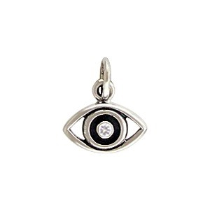 Sterling Silver Evil Eye Charm with Geniune Diamond 12x10mm