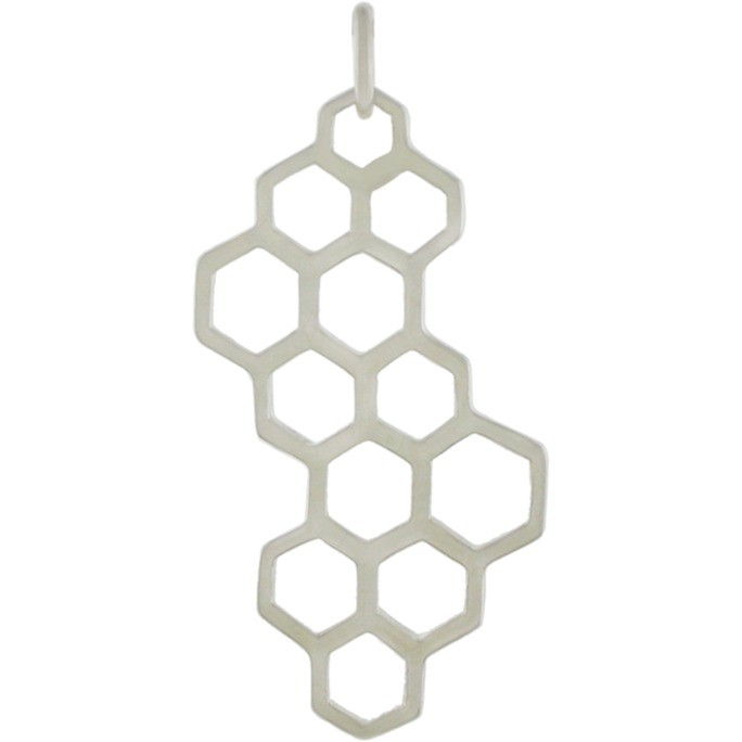 Sterling Silver Honeycomb Charm 32x16mm