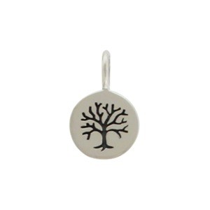 Sterling Silver Tree of Life Etched on Round Charm 13x8mm