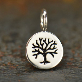 Sterling Silver Tree of Life Etched on Round Charm -8mm