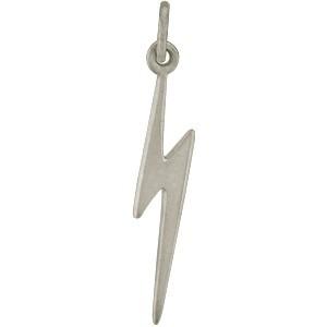 Sterling Silver Lightning Bolt Charm - Flat